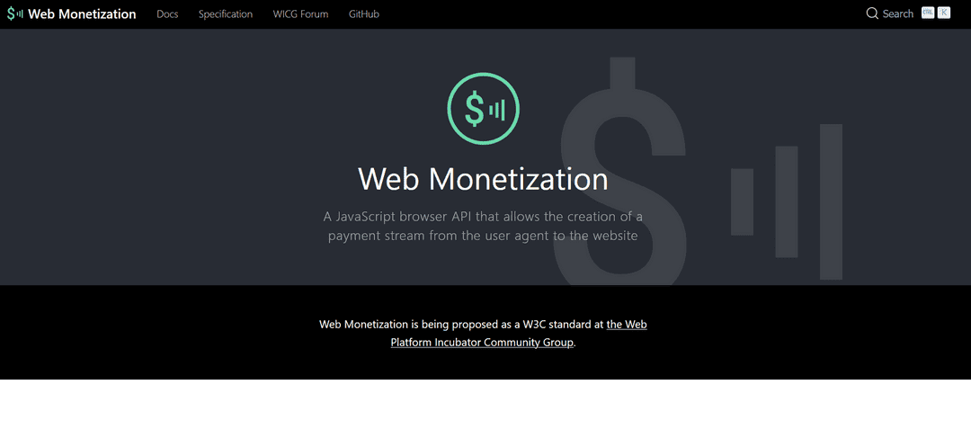 Web Monetization hemsida
